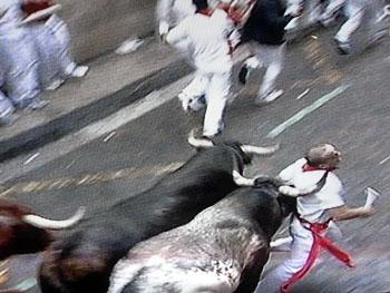 En tjurrusare med änglavakt