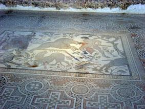 Mosaik från Oecus - mottagningssalen, myten om Adonis död