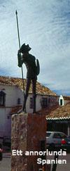 Don Quijote utanför sin restaurang i Puerto Lápice
