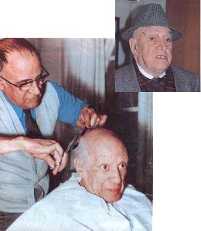 Picasso blir klippt av sin vän, barberaren Eugenio Arias