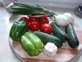 Några av ingredienserna till Gazpacho