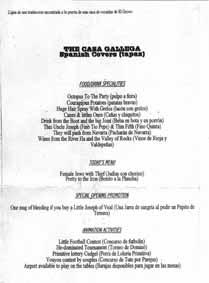 Meny från Casa Gallega