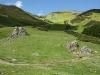 Landskapet är mjukt och böljande med gröna ängar i Liébana.