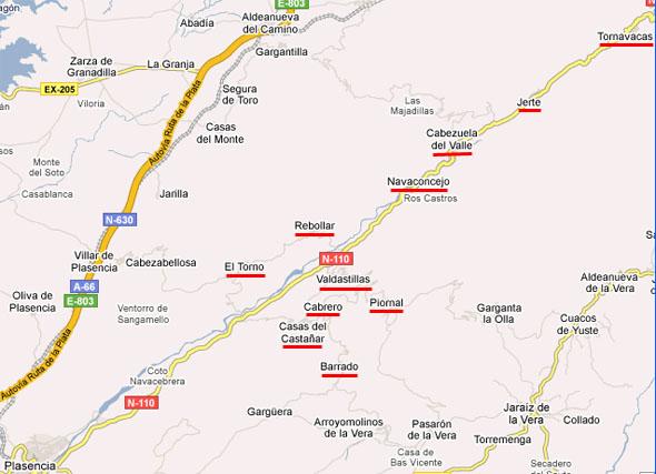 Karta över Jertedalen, från Google Maps